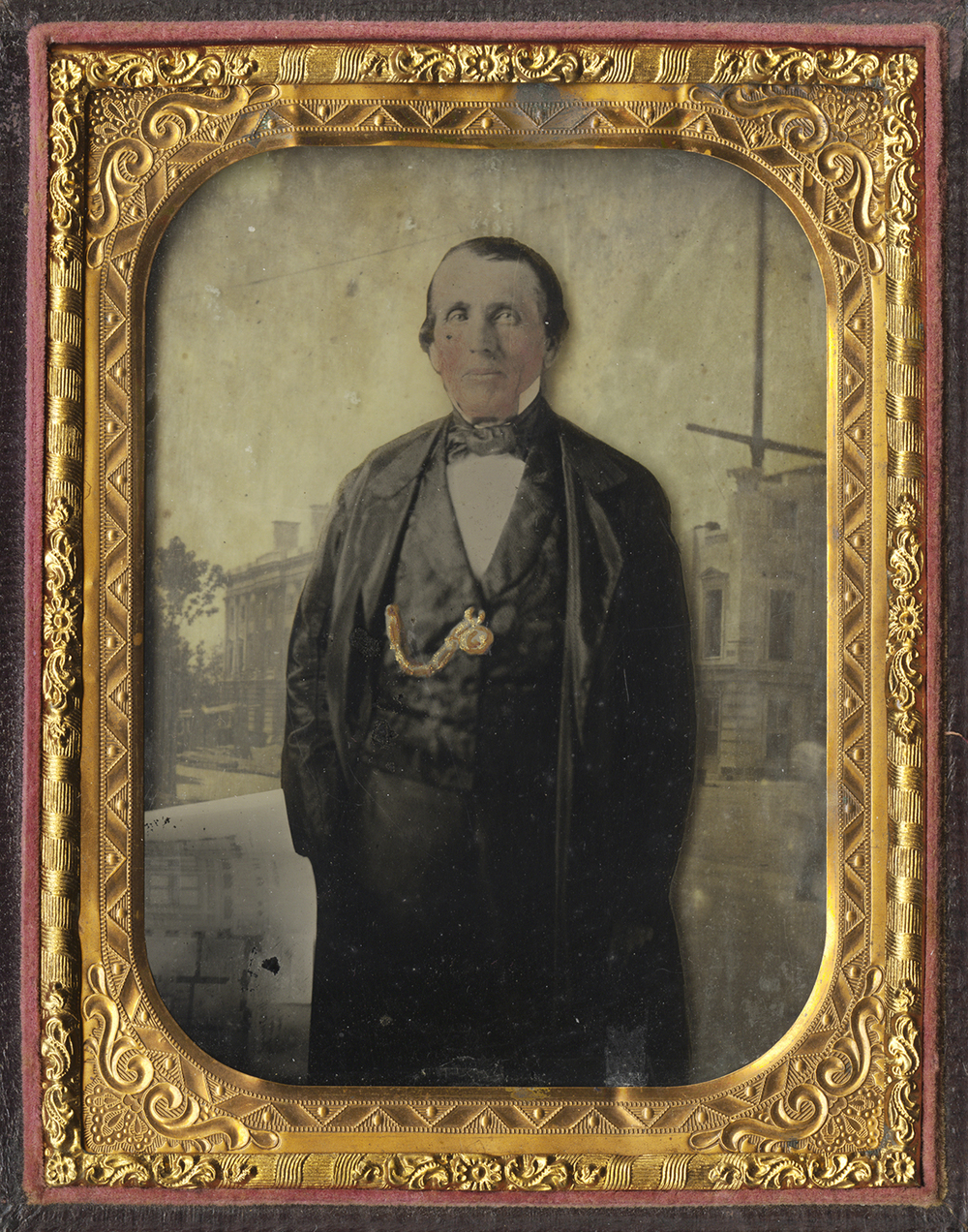 Portrait of a Gentleman, Street Scene in Background