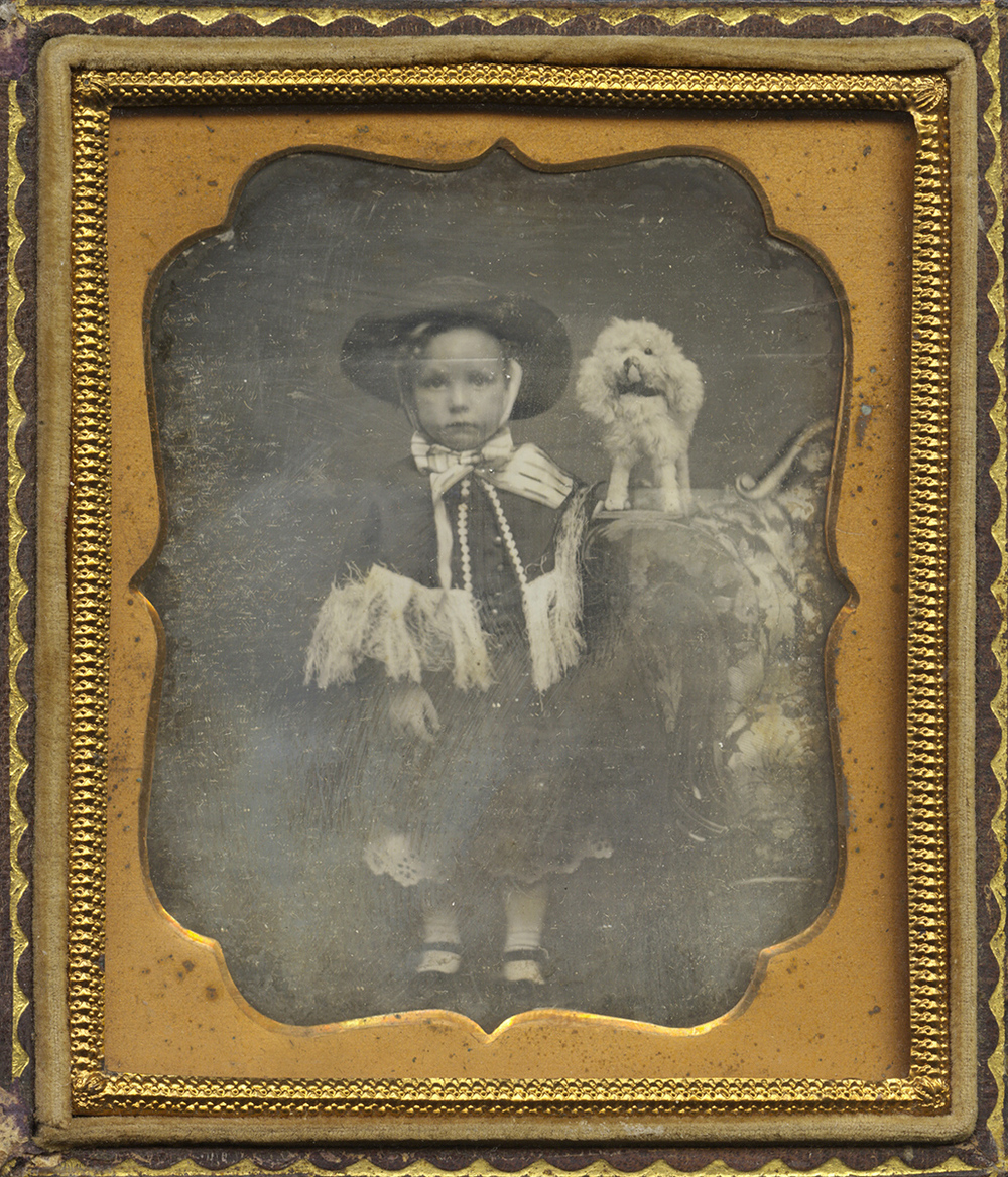 Young Child Posed With A Toy Dog