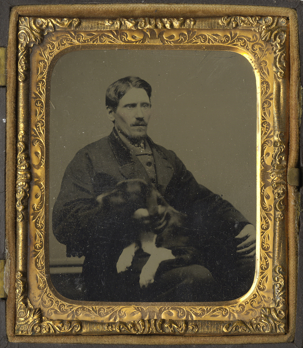 Portrait of a Seated Man with His Dog Lying in His Lap