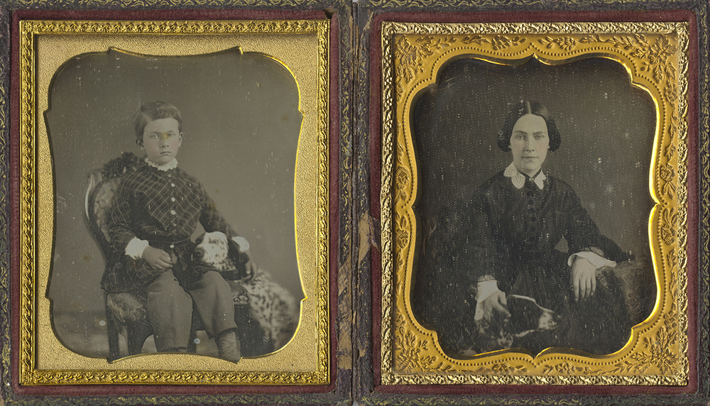 Portrait of Seated Woman with her English Setter, and Portrait of the Same Dog Leaning Against Seated Boy