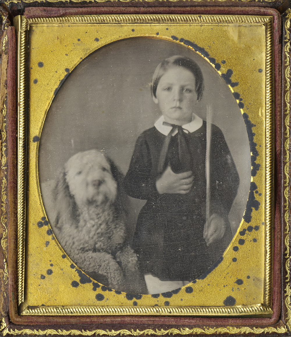 Portrait of a Boy Holding a Musical Bow and Standing Next to his Dog
