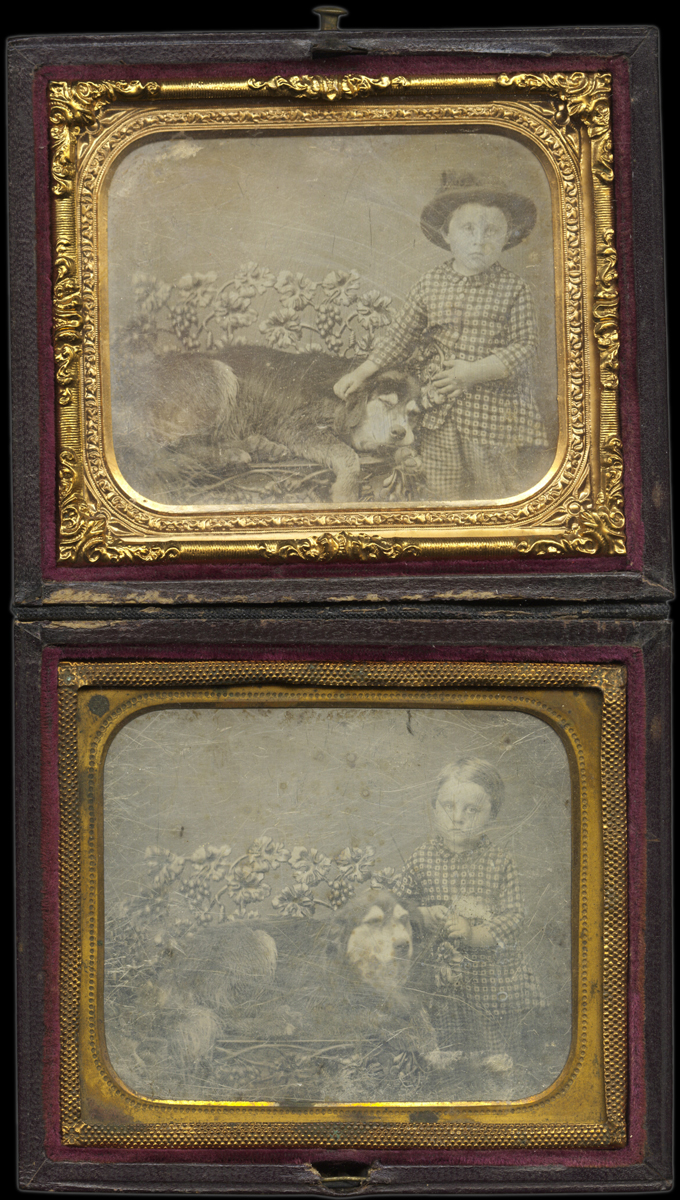Two Portraits of a Young Girl and Her Dog Lying on a Garden Bench