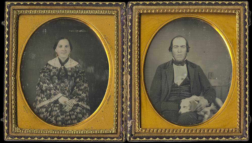 Pair of Daguerreotype Portraits of a Lady in a Patterned Silk Dress and a Gentleman with His Dog