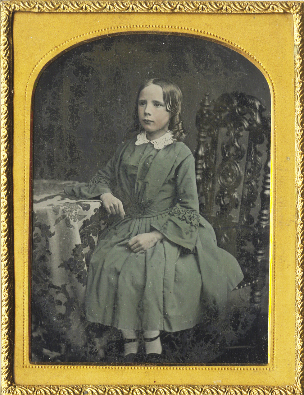Portrait of a Seated Young Girl in Dress with Lace Collar