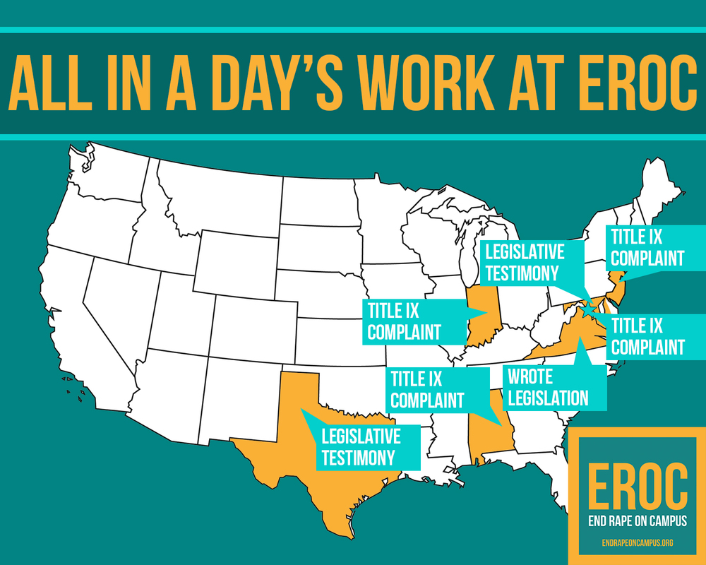 On Tuesday , March 8, EROC filed complaints against four schools, provided testimony to two state legislatures, and confirmed the passing of two key pieces of legislation we helped draft.
