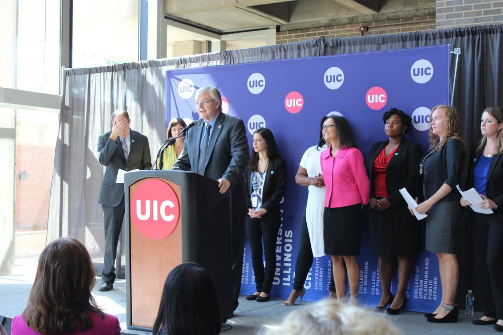 "The Chancellor of UIC speaks at the ""Preventing Sexual Violence in Higher Education Act"" Press Conference"