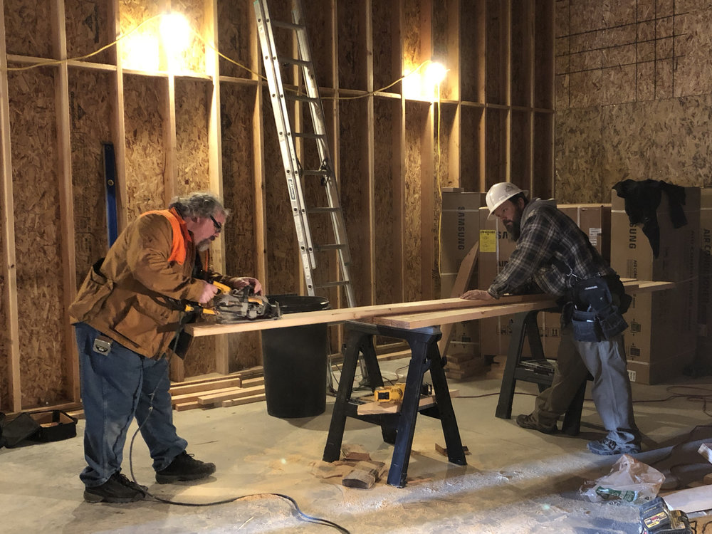The framing company had some problems getting enough guys out every day. Tony (left) and superintendent Jared (right) jumped in and helped out.
