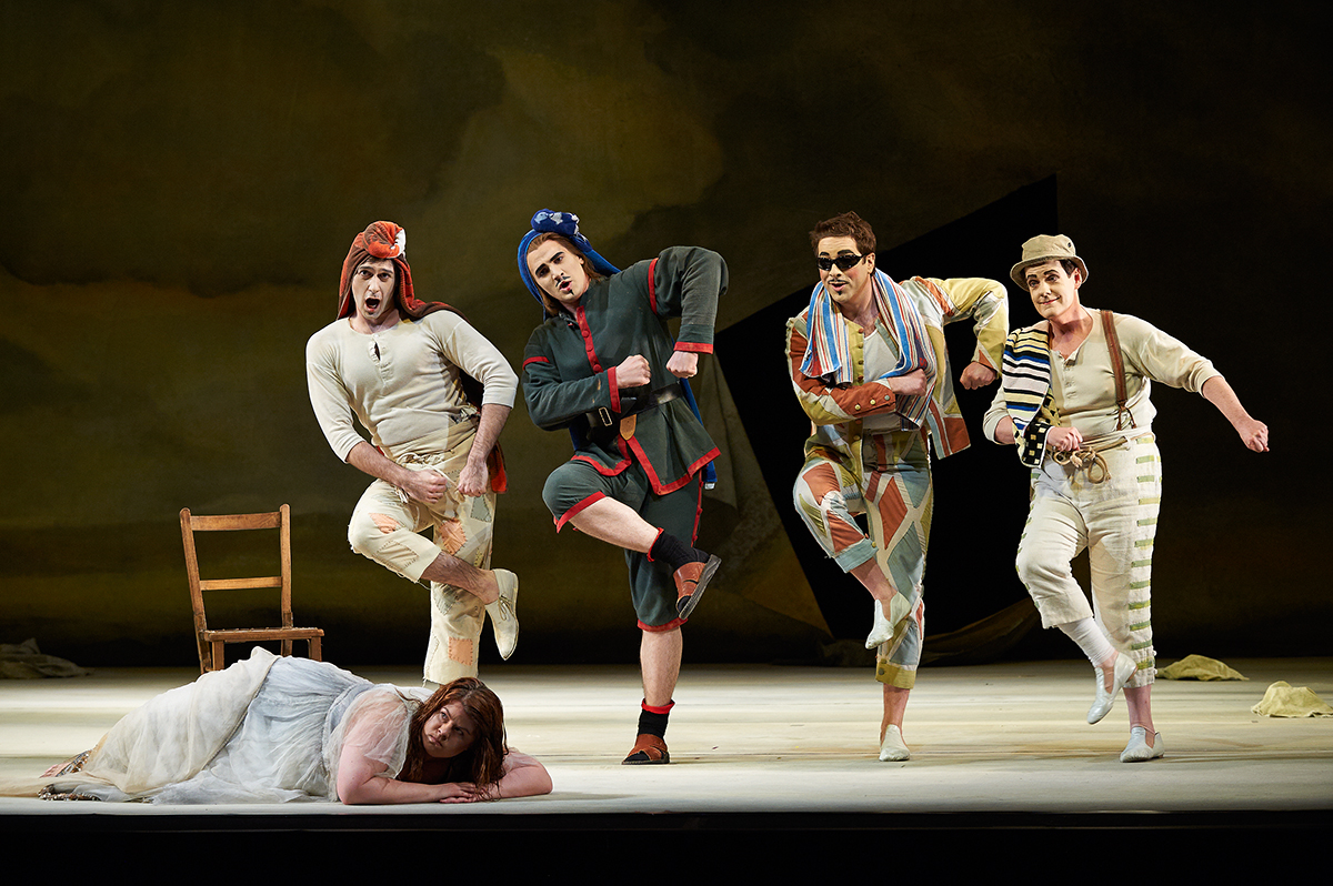 Michael Uloth (Trouffaldino), Christopher Enns (Scaramuccio), Peter Barrett (Harlequin), John Easterlin (Birghella) in the Canadian Opera Companies production of Ariadne auf Naxos. ©Michael Cooper