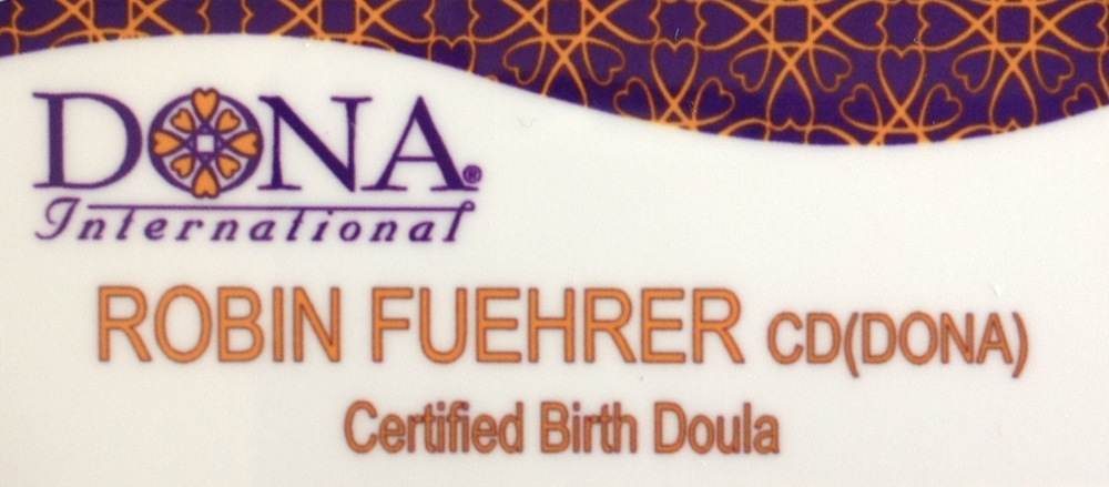 DONA certified birth doula name tag