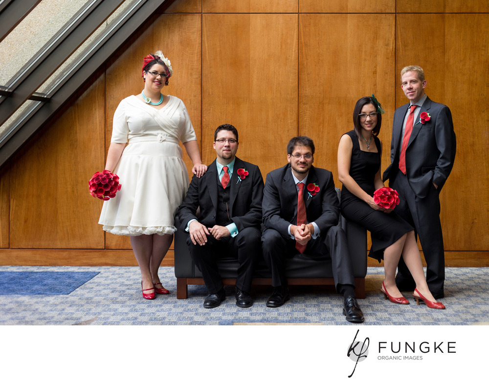 Angela, Chris and their bridal party look fantastic in this red wedding, complete with bouquets in red ombre paper and matching boutonnieres.  ©2013  Fungke  Images  http://www.fungke.com/