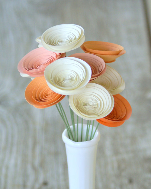 Flowers made of paper images flower decoration ideas peaches and cream arrangement made with medium size paper flowers peaches and cream arrangement made with mightylinksfo