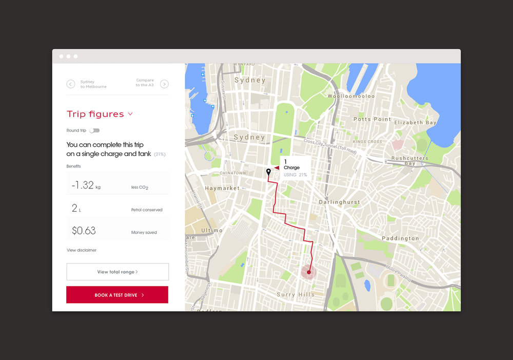 Audi e-tron Emissions Calculator – UI