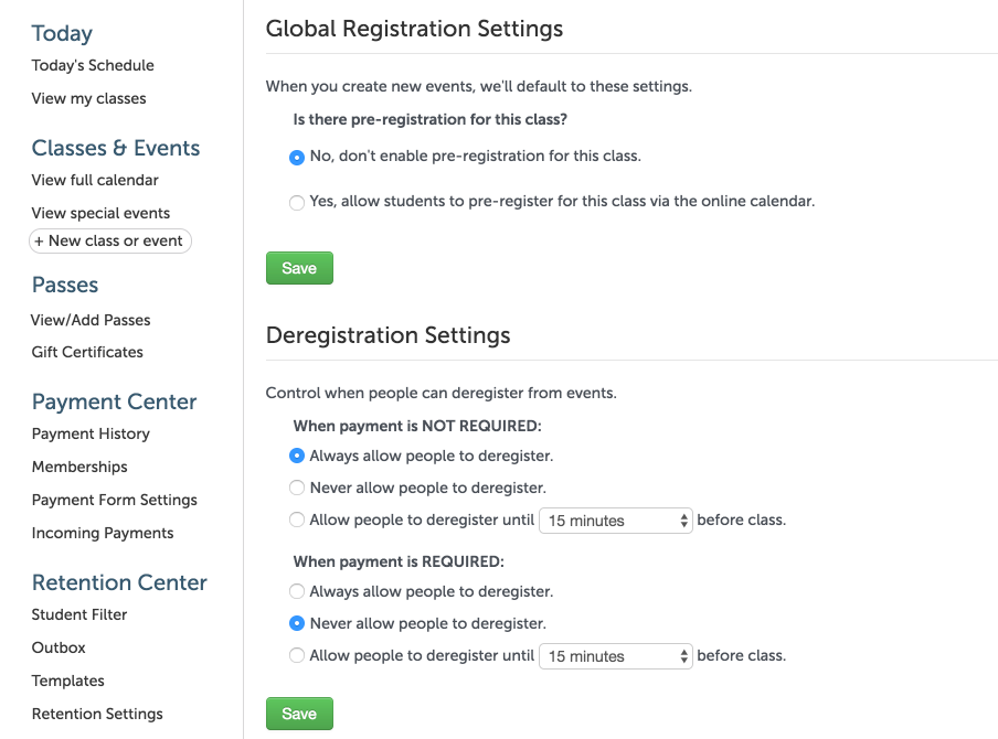 Choose default settings for event creation, and dictate when people can deregister.