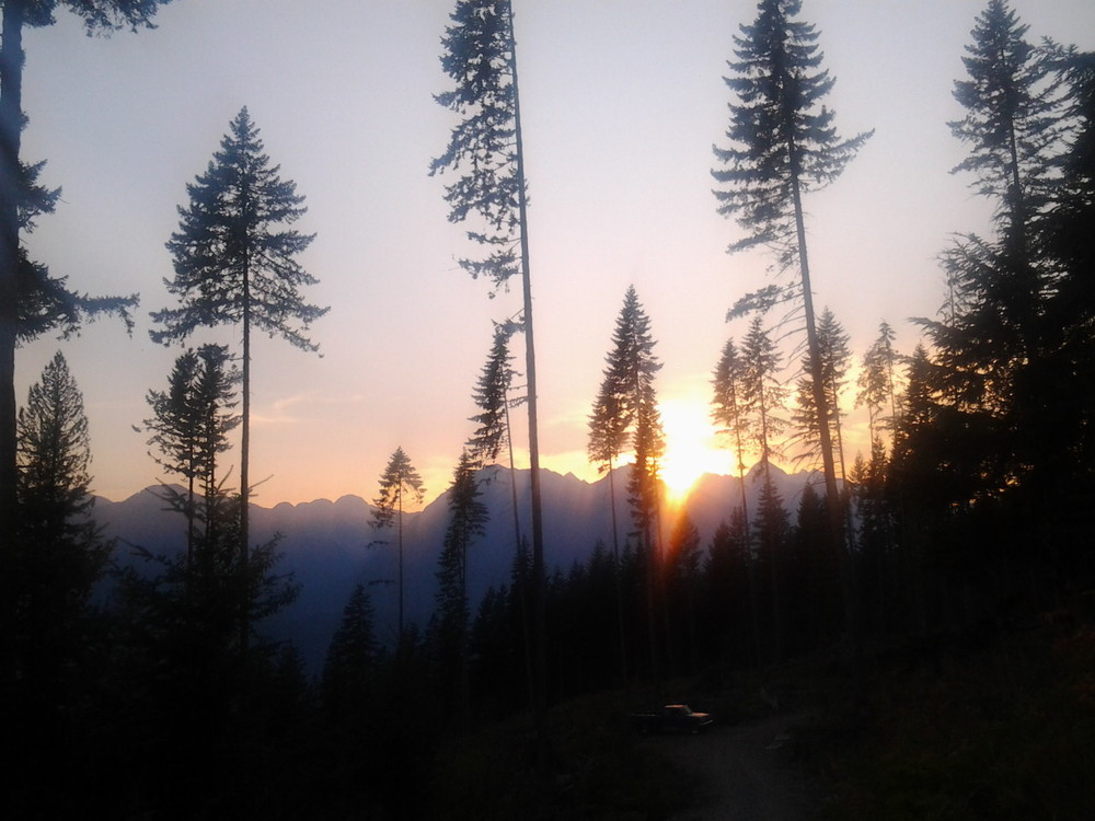 Sunset from the mountainside in Garibaldi Oark, BC just north of Squamish