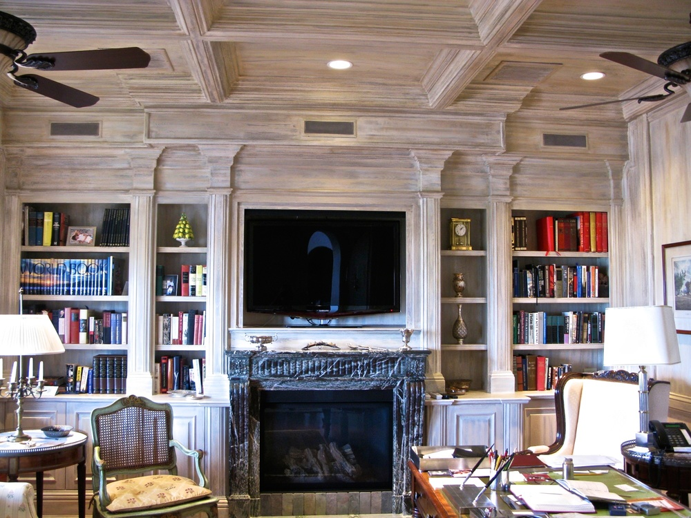 Decorative finish gallery architectural painting for Library wall colors