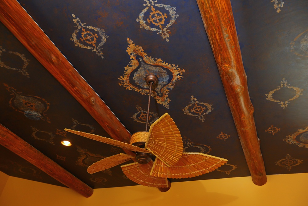 Moroccan-inspired stenciled ceiling