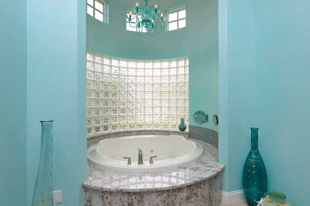 Bathroom in Aqua Venetian Plaster