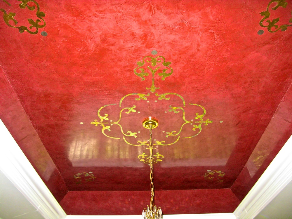 Ceiling in red Venetian Plaster and gold leaf