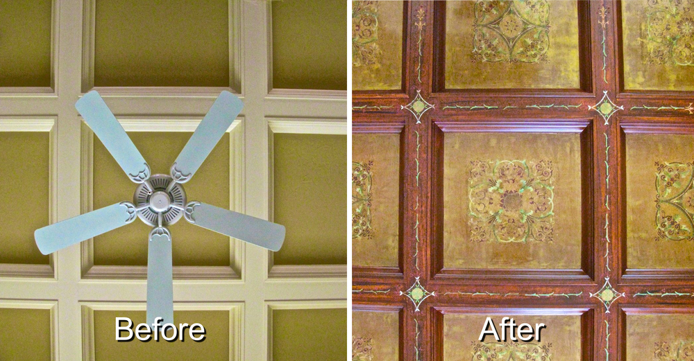 Before and after view of decorative faux finish on a client's ceiling.