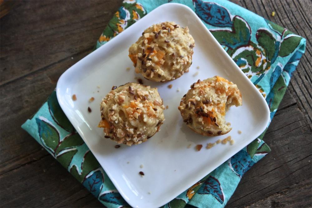 Apricot + Coconut + Nutmeg + Flax Seeds Mini Muffins