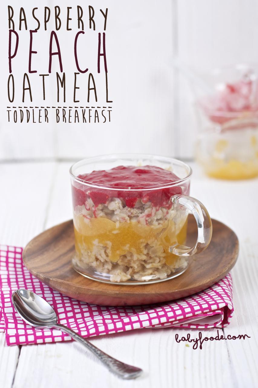 Raspberry + Peach Puree with Oatmeal