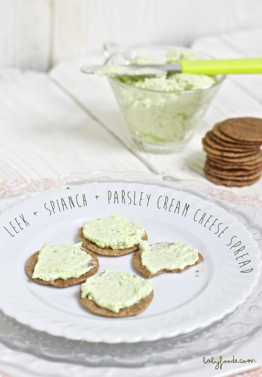 Leek + Spinach + Parsley Cream Cheese Spread