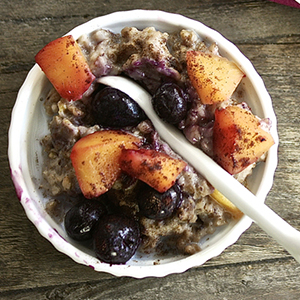 Peach + Blueberry Overnight Oatmeal
