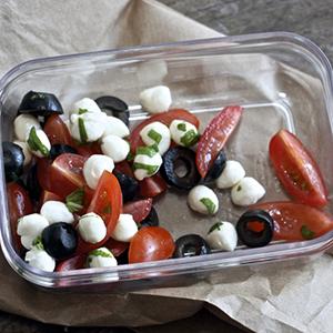 Tomato + Olives + Mozzarella + Basil Finger Snack