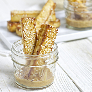 Toddler Tofu Sticks with Peanut Dipping Sauce