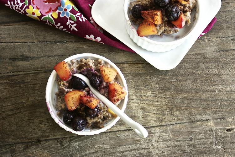 Peach + Blueberry Overnight Oatmeal