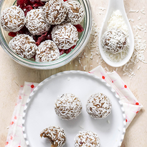 Cranberry Snowballs with Cashew + Coconut