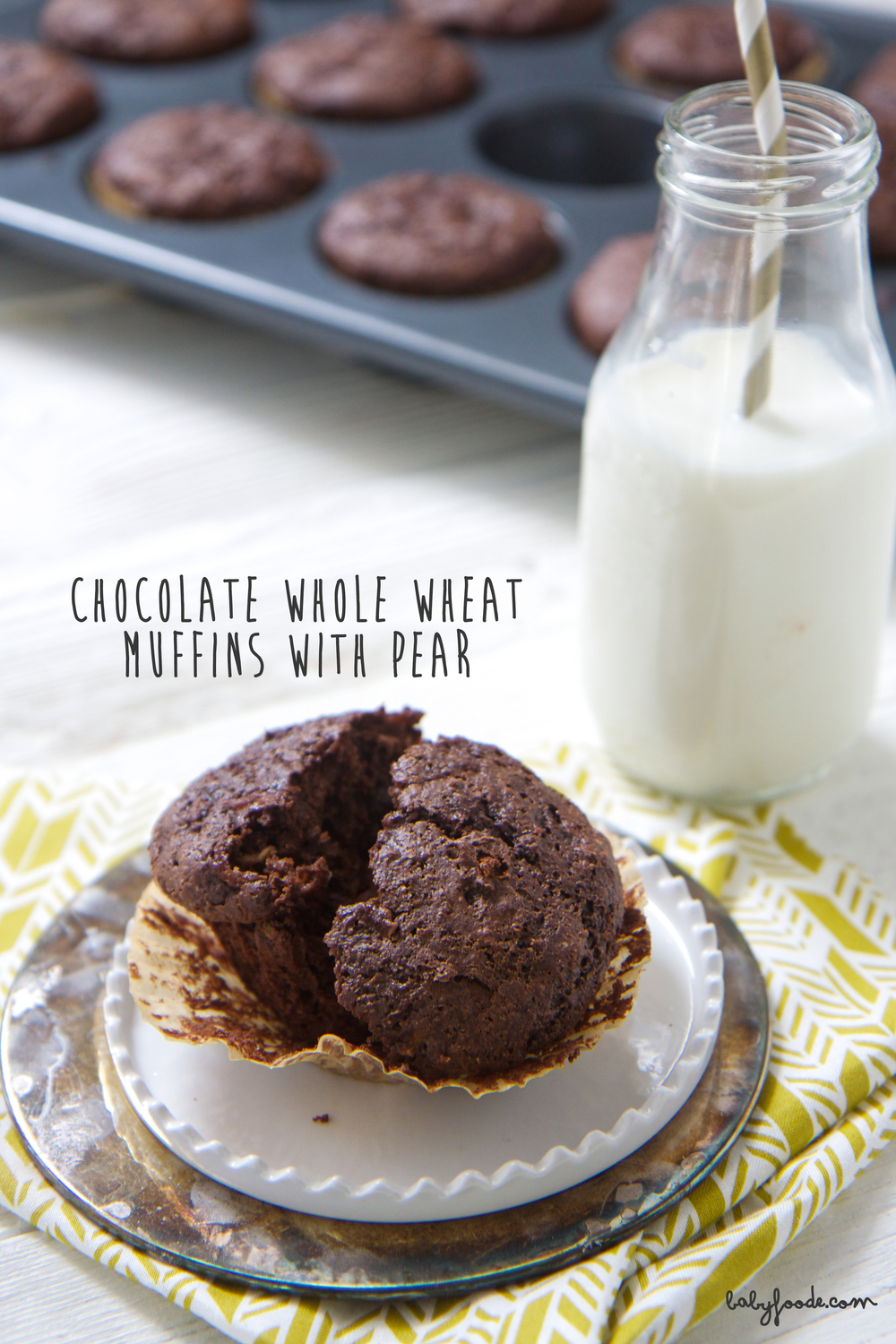These chocolate and pear whole wheat muffins are amazing! They are so easy to make, and filled with healthy, whole food ingredients - you can't help but feel great feeding this to your toddler or big kid for breakfast, and afternoon treat, or an on the go snack. #healthybaking #muffins