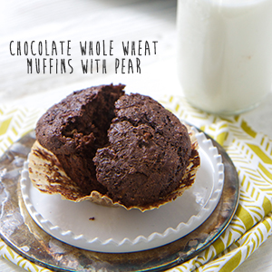 Chocolate Whole Wheat Muffins with Pear
