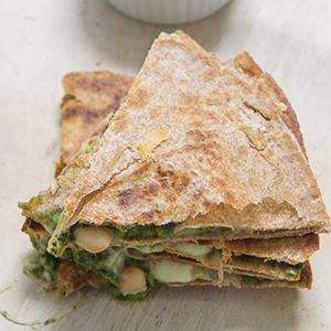 Kale + Spinach with Apple Quesadilla