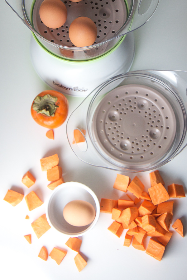 Bursting with fall inspired flavors, this Fall Superpower Baby Food Puree is made with sweet potatoes, persimmons and egg yolks and is a perfect puree for baby at any age. Full of essential nutrients such as choline, good cholesterol, omega-3 fatty acid and iron, this puree is aiding in baby's brain and bone development! A puree that is tasty and nutritious all in one! #babies #babyfood