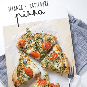 Healthy Spinach + Artichoke Pizza