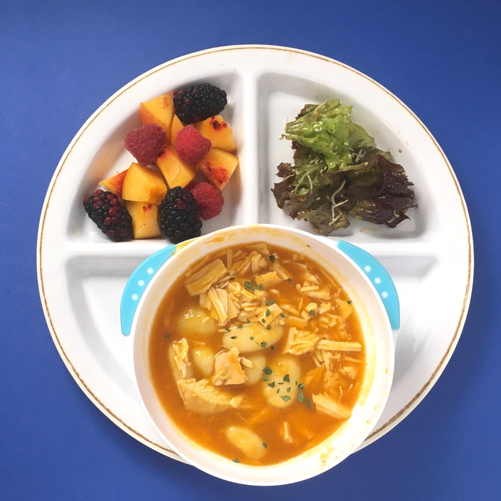 Chicken gnocchi pumpkin soup, peach + raspberry + blackberry finger salad and lettuce with toasted coconut dressing.