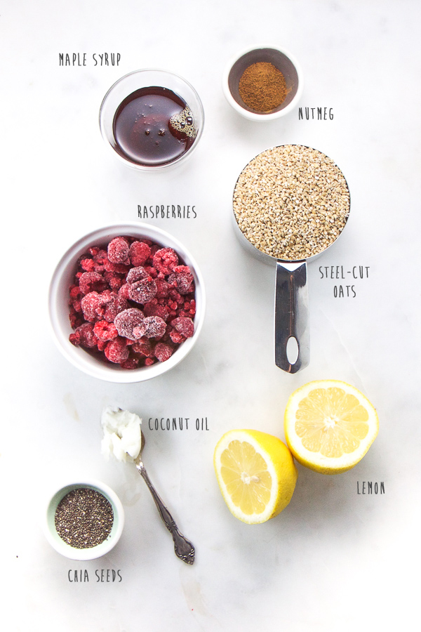 Hearty and healthy steel-cut oats get jazzed up with a raspberry and lemon syrup that is refined sugar free and full of omega-3 fatty acids, fiber, protein and antioxidants. A delicious breakfast that will have everyone in the family asking for more! #breakfast #kidfriendly