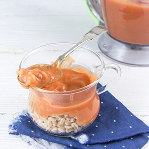 Sweet Potato + Strawberry Puree with Cinnamon and Farro