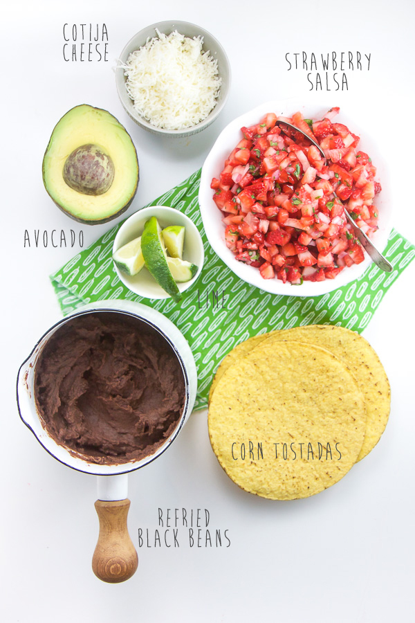 Black Bean Tostadas with Strawberry Salsa