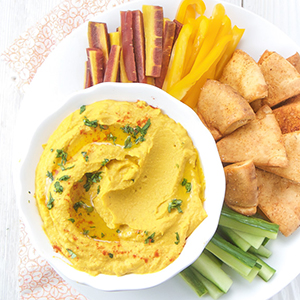 Carrot Hummus with Toasted Paprika Pita Chips
