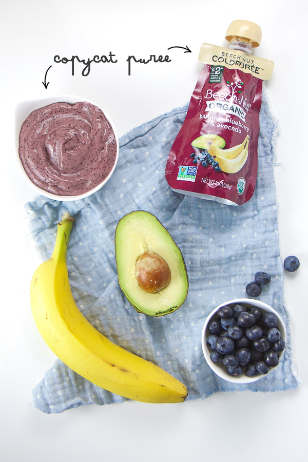 This five minute fast and easy Banana, Blueberry and Avocado Baby Puree is packed with nutrients that help in bone, heart and brain development. It's so easy to make (less than 5 minutes from start to finish) that even the most sleep deprived moms will have the time and energy to make this super-powered meal for baby! #babyfood #homemade #stageone #6months #baby #healthykids