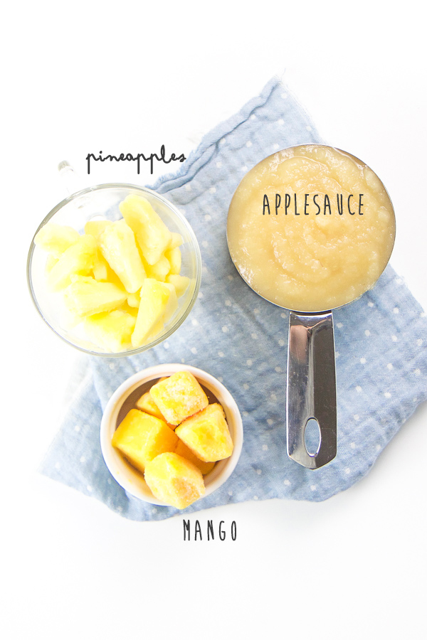 Your baby, toddler, big kid and even you will love this delicious mango pineapple applesauce. Ready in just five minutes and filled with healthy vitamins and antioxidants, this applesauce combo is perfect for an easy snack, a side dish for lunch or even a quick breakfast on-the-go. #healthykids #applesauce #snack #breakfast #healthy