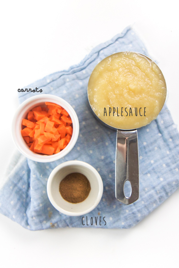 Your baby, toddler, big kid and even you will love this delicious carrot clove applesauce. Ready in just five minutes and filled with healthy vitamins and antioxidants, this applesauce combo is perfect for an easy snack, a side dish for lunch or even a quick breakfast on-the-go. #healthykids #applesauce #snack #breakfast #healthy
