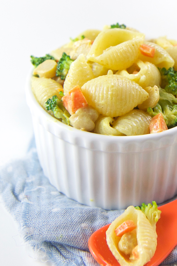Curry Pasta Salad for Baby + Toddler - Age: 7 months and upPrep Time: 10 minutesCook Time: 15 minutesServings: 4-6 servingsStorage: store in air-tight contain in the fridge for one week