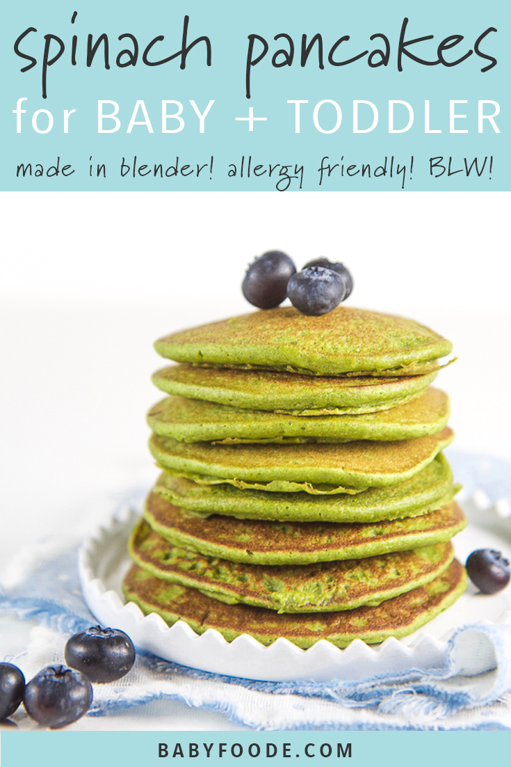 These Easy Blender Spinach Pancakes are a great way to get spinach into your baby and toddler's diets. They are also allergy friendly (gluten free, nut free, and dairy free), made in a blender, freezer-friendly and perfect as a first finger for or for baby led weaning. Basically they are the boss of pancakes! #babyledweaning #fingerfoods