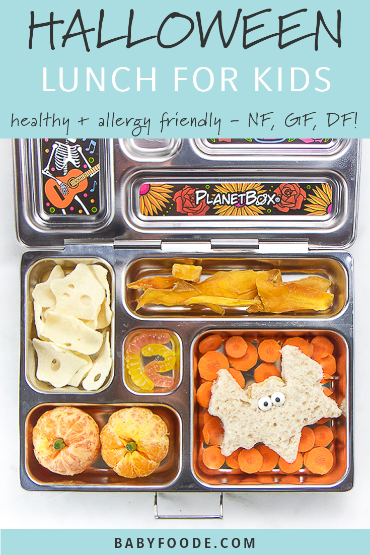 This spooky Halloween Lunch for Kids is a great way to surprise your kiddos with a fun (and yummy) packed school lunch. This lunch is totally allergy friendly since it's nut free, dairy free, and gluten free! This easy, healthy school lunch takes less than 5 minutes to make, is spooky but kid friendly, and will be devouved by your toddlers and kids! #lunch #halloween