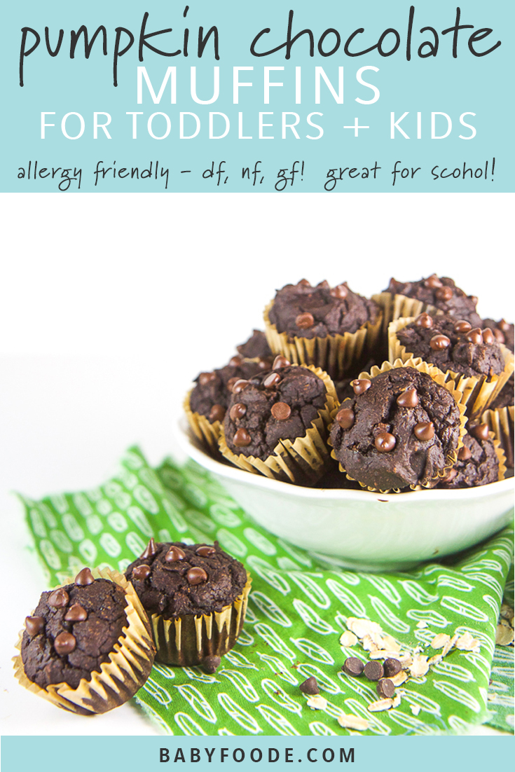 These Allergy Friendly Pumpkin Chocolate Muffins for Toddlers and Kids are about to rock your world! Not only are they gluten free, dairy free and nut free but they are beyond delicious and kids of all ages will eat them up! They are perfect as a quick breakfast, after school snack, or to pack in a lunch to take to school. These healthy fall muffins are kid friendly and 100% mom approved! #muffins #healthyrecipes