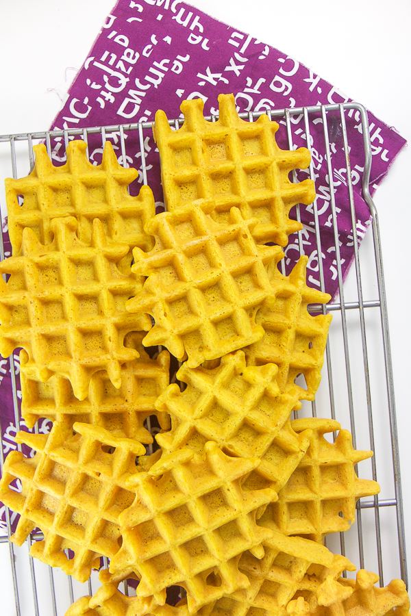 Golden Milk Waffles for Toddlers + Kids - Age: 9 months and upPrep Time: 10 minutesCook Time: 15 minutesServings: 6-8 servingsStorage: store in air-tight contain in the fridge for one week or freezer for 2 months