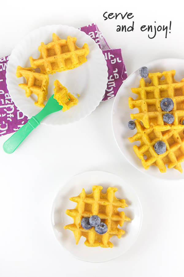 These Golden Milk Waffles for Baby, Toddlers, and Kids are fluffy, warming and completely ridiculously delicious, so much so that the entire family will love them! They're 100% allergy friendly (gluten free, dairy free, nut free) and freezer friendly for those busy mornings on-the-go! Plus turmeric is excellent for boosting immunity and keeping the entire family healthy. There are so many reasons to love these healthy golden milk waffles! #kidfriendly #turmeric #waffles #healthyrecipes